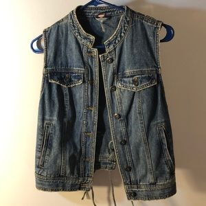 🌼Free People Women's XS Lace up Denim Vest